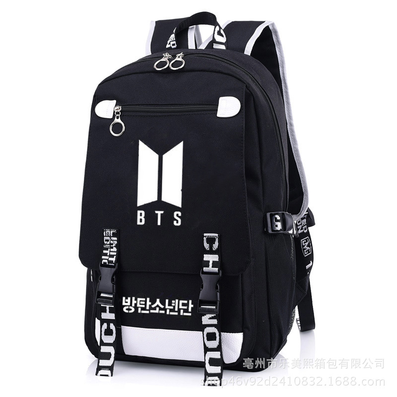 Hot Selling BTS School Bag Paragraph Korean-style Backpack Factory Direct To Map Custom