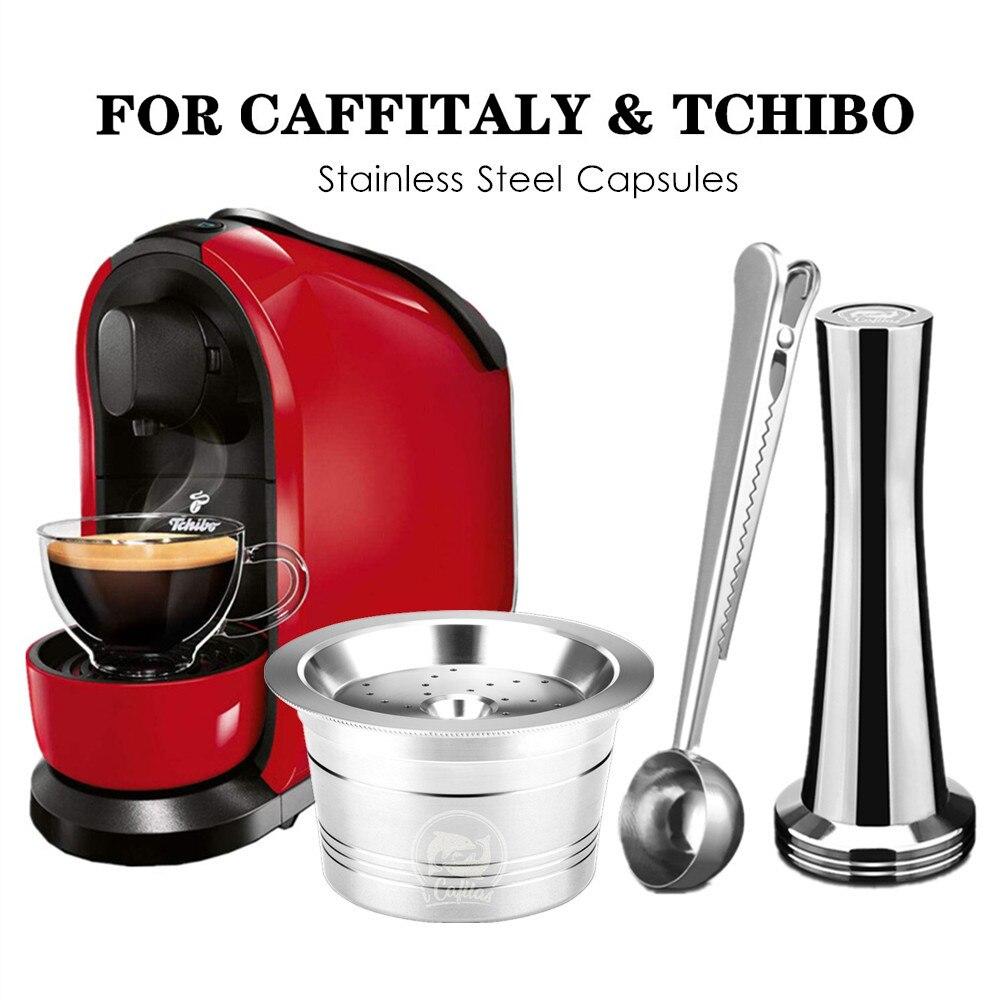 Caffitaly tchibo cafissimo aldi expressi 리필 가능 k-fee 커피 캡슐 포드 필터 스테인레스 스틸 cafeteira tamper spoon