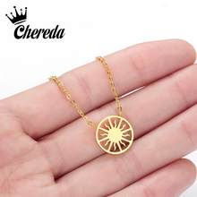 Chereda Dainty Sun Layered Necklace for Women Stainless Steel Delicate Necklaces & Pendants Party Accessories(China)