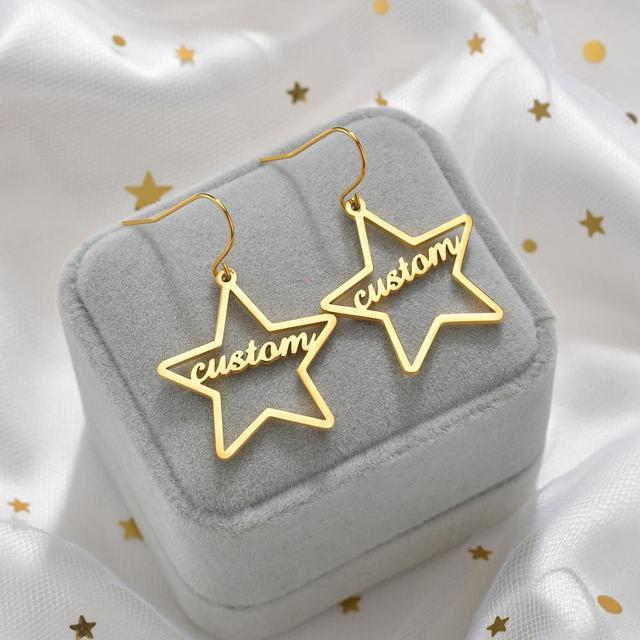 Diamante de alta qualidade personalizado nome brincos de ouro personalizar namplate brinco feminino jóias de aço inoxidável presente festa 3