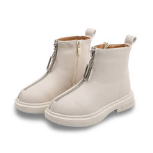 цена на Winter Girls Snow Boots For Kids Shoes Children Boots Plush Warm Anti-slippery Zip Leather Mid-Calf bota infantil White Black
