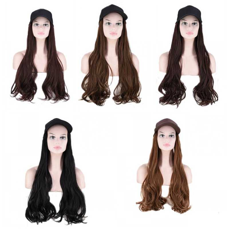 JOY&BEAUTY 24 Inch Long Wavy Wig Baseball Cap And Hair Extensions Black Brown Synthetic Hair Integrate Cap For Girl Party Wig