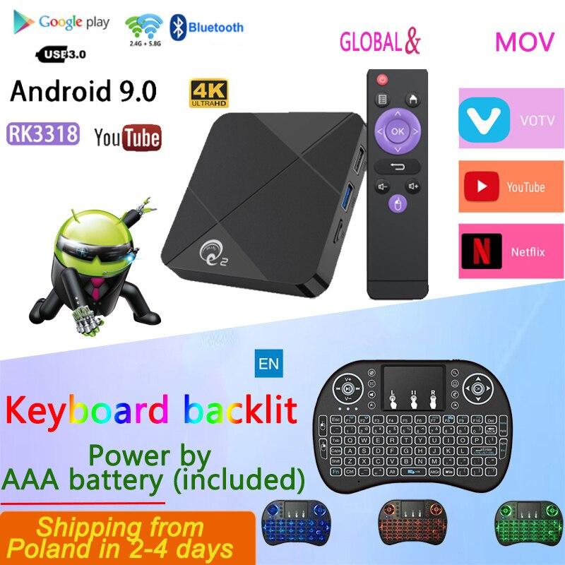 Top IPTV Box MINI Q2 4k Tv Box Andriod Android TV 9.0 Media Player Lifetime  Global  Google Netflix TV Set Top Box
