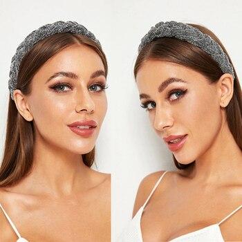 MOLANS Hair Accessories Wide Shiny Weaving Hairbands Braided Headband Hair Hoop Fashion Hair Bands Bezel Headdress 4