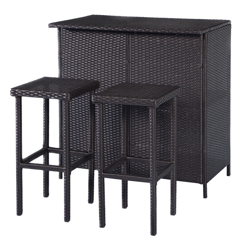 Hight Quality 3 Pcs Patio Outdoor Rattan Wicker Bar Table 2 Stools Set Goods Shelves UV Resistance Waterproof Outdoor Furniture