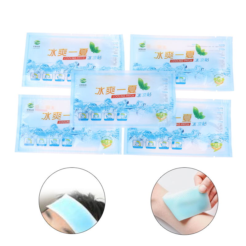 5pcs Antipyretic Headache Relieve Pain Pad Lower Temperature Paste Ice Gel Polymer Hydrogel Cooling Sticker Fever Down Patch