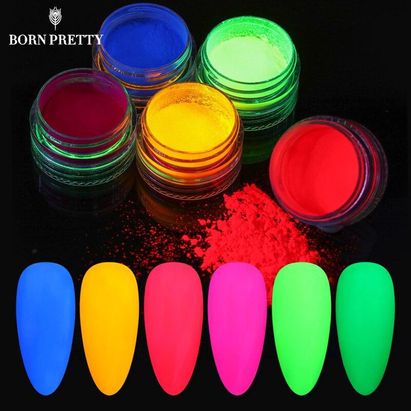 6 Boxes Nail Powder Set Nail Glitters Powder Fluorescent Powder Nail Art Decorations For Summer Manicuring DIY