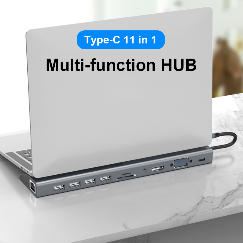 Basix 11-In-1 Type C Hub USB C to HDMI VGA Lan RJ45 USB 3.0 Ports SD/TF Card Reader USB-C Power Delivery for MacBook Pro