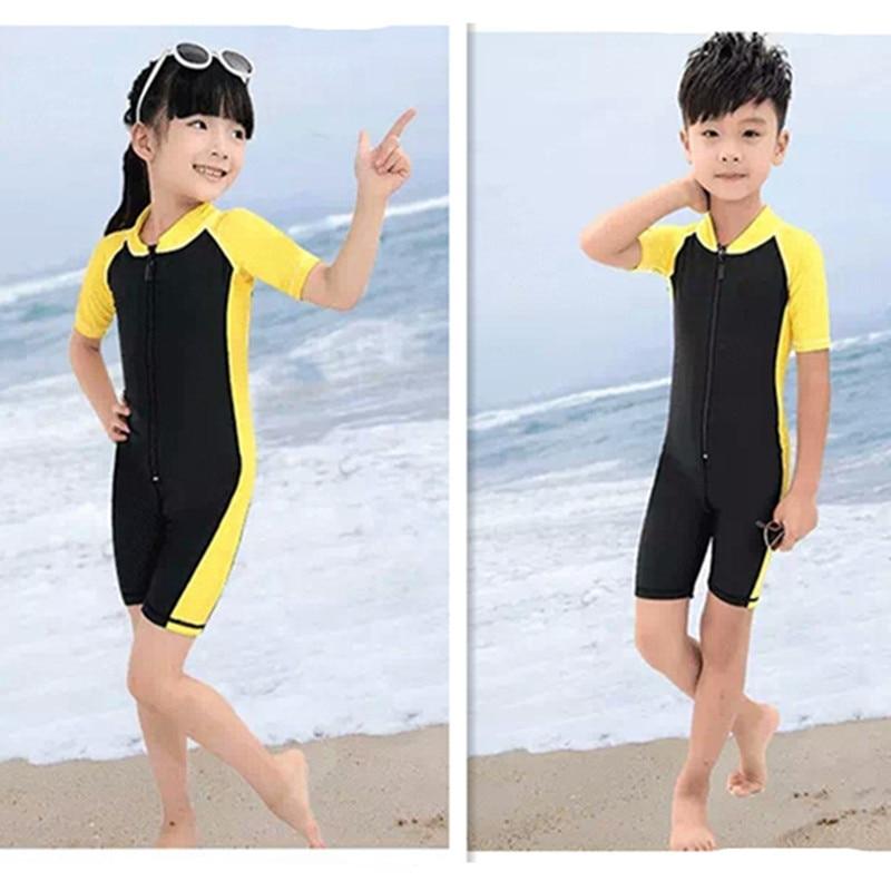 [Students Training Swimwear] Children Siamese Swimsuit Men And Women Children Short Sleeve Bathing Suit Baby Solid Color Bathing