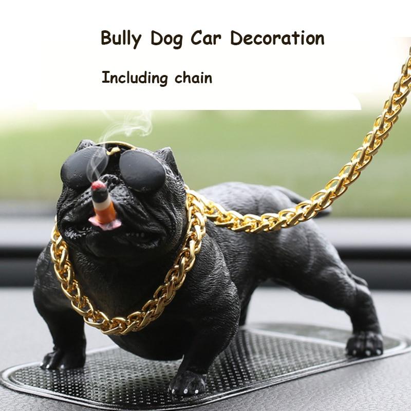 Car Dashboard Ornament Bully Pitbull Dog Doll Auto Interior Accessories Ornaments Cute Chritmas Gift Creative Home Decor