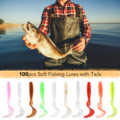 100pcs Soft Artificial Fishing Lures silicone Bait Carp 4cm/5.5cm/7cm Bass Tackle Swimbait Tail Worm Moggot Grub Lures Baits