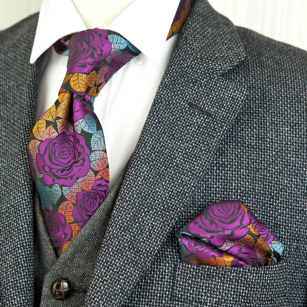 Wholesale Rose Multicolor Fuchsia Red Yellow Blue Floral Men's Ties Set Neckties Handkerchieves 100% Silk Free Shipping