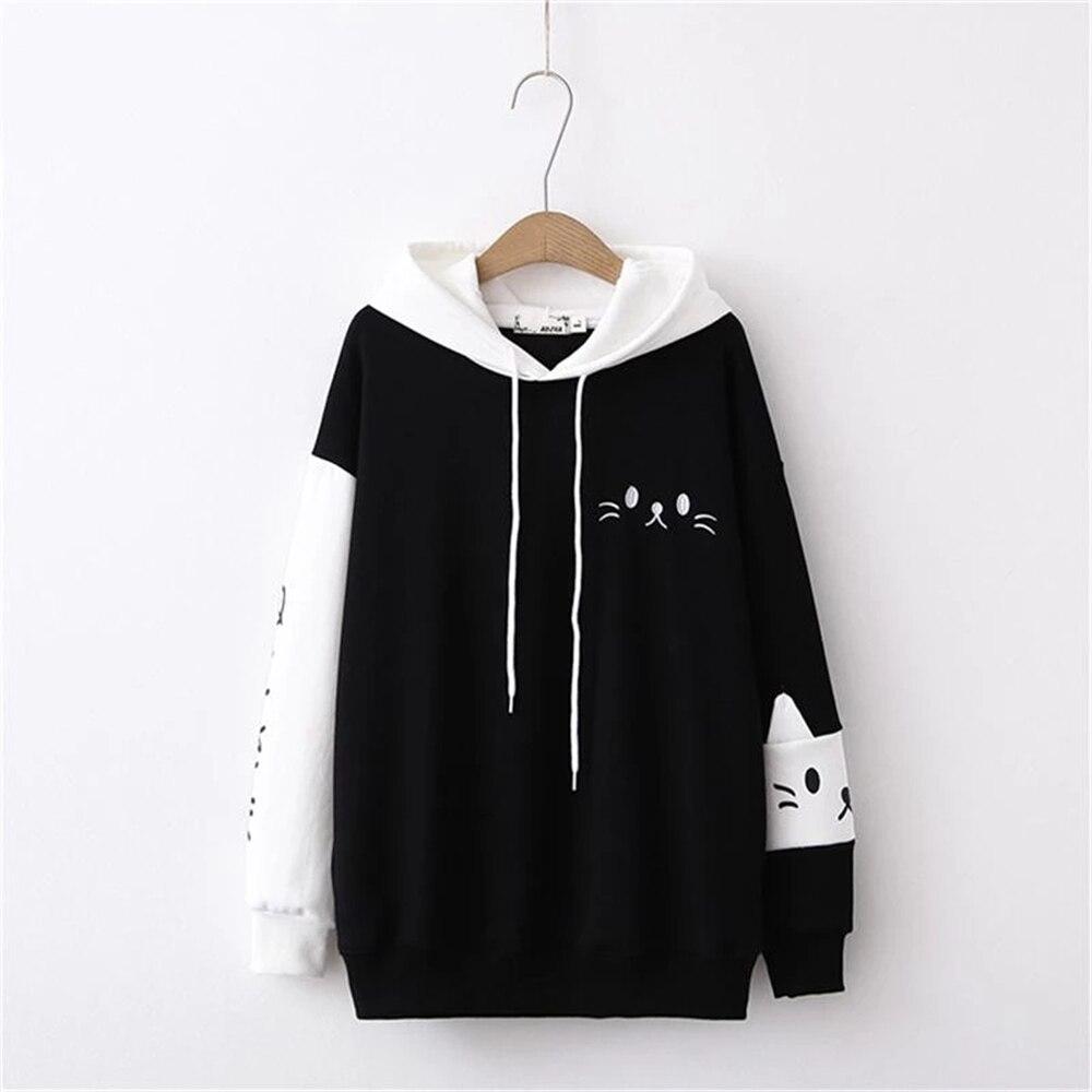 Kawaii Japanese Black & White Neko Sweater 2