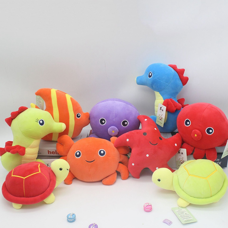1Pcs Cute Fish Crab Marine Animal Plush Toys Cotton Stuffed Doll Baby Infant Child Toys Birthday Xmas Gift Random Color