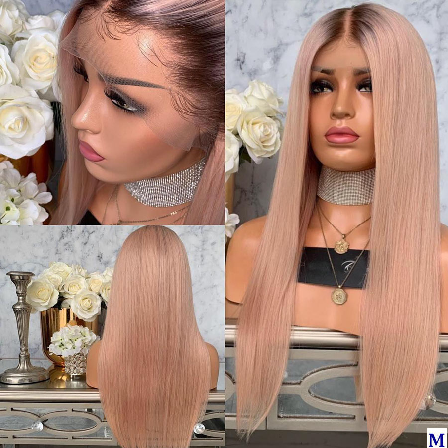 Ombre Dark Brown/Pink 13x6 Lace Front Human Hair Wigs for Black Women Glueless Silky Straight Full Lace Wigs Bleached Knots