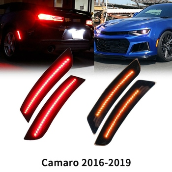 4Pcs Front Rear Bumper Smoked Lens Amber LED Side Marker Lights Bumper Lamp Reflector for Chevy Camaro 2016-2019 6Th