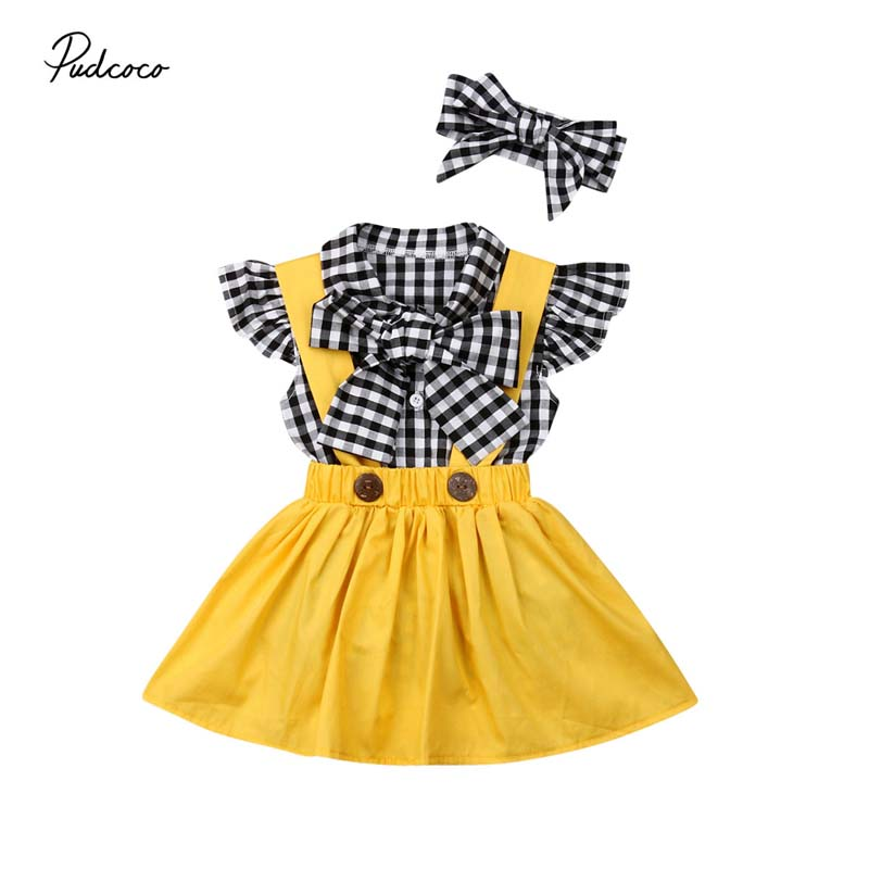 2019 Baby Summer Clothing 0-3Y Toddler Kids Baby Girl Bow Ruffles Sleeve Plaid T-Shirts Tops+ Bib Strap Dress+Headband 3pcs Sets
