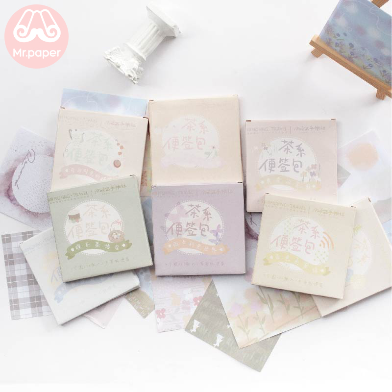 Mr Paper 60pcs/lot Tea Colors Creative Ins Style Writing Notes Memo Pads Loose Leaf Cute Cartoon Notepad Diary Note Memo Pads