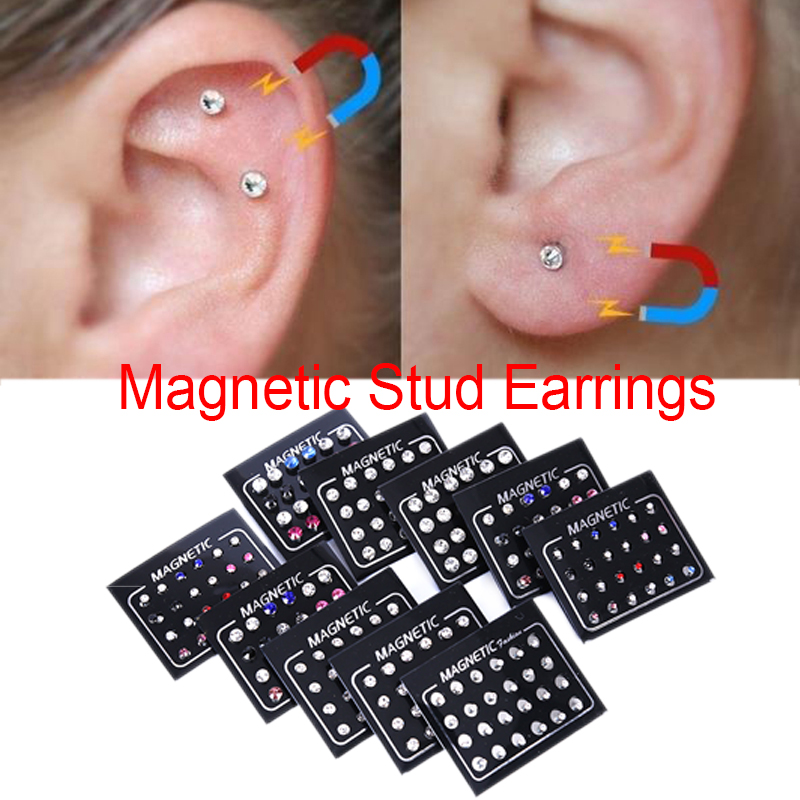 12/24Pcs/Set 3mm Crystal Round Ear Stud Unisex Stainless Steel Round Magnetic Non-Piercing Clip On Stud Earrings