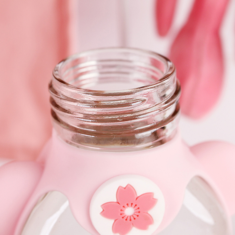Kawaii Portable Cherry Blossom Sakura Glass Bottle 5