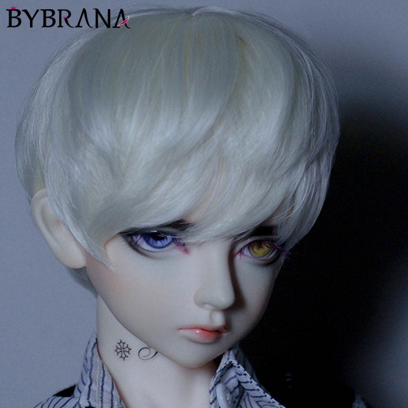 Bybrana Bjd Wig 1/3 1/4 1/6 Uncle Sd Male Doll Daily Service Short Hair Is Too Style Black Brown Gray Yellow
