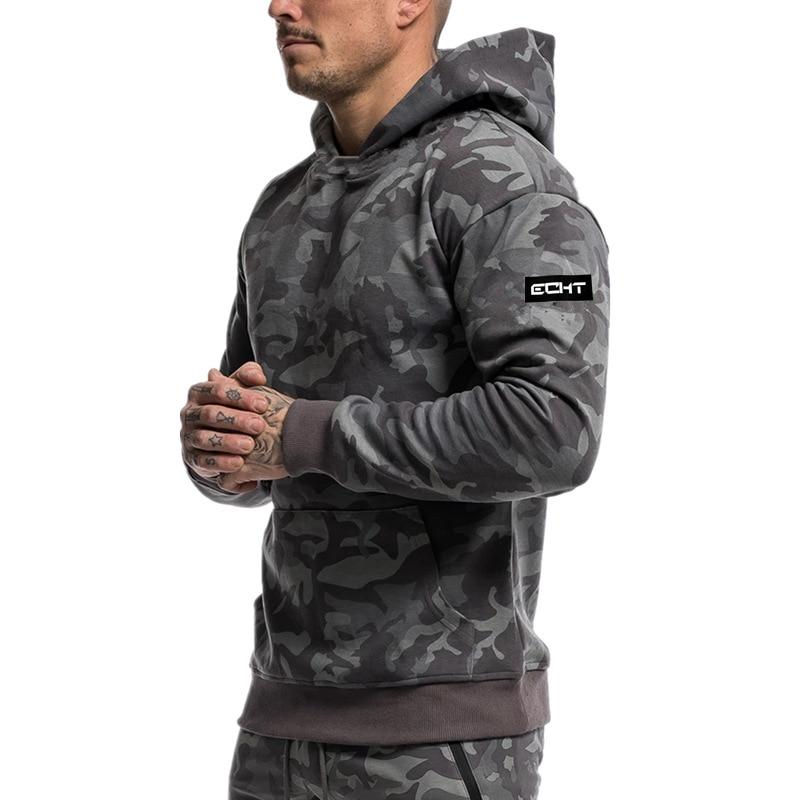 Mens camouflage Hoodies Fashion Casual male gyms fitness Bodybuilding cotton Sweatshirt sportswear Brand top coat