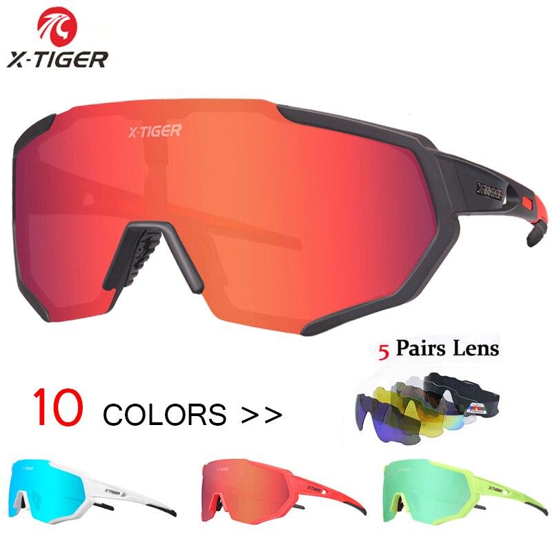 X-TIGER Gepolariseerde 5 Lens Fietsen Bril Racefiets Fietsen Brillen Fietsen Zonnebril Mtb Mountain Fiets Fietsen Goggles