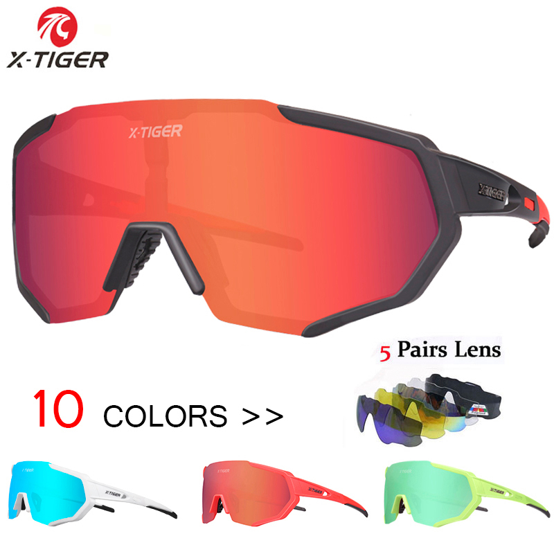 X-TIGER Polarized 5 Lens Cycling Glasses Road Bike Cycling Eyewear Cycling Sunglasses MTB Mountain Bicycle Cycling Goggles