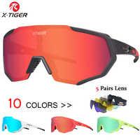 X-TIGER Polarized 5 Lens Cycling Glasses Road Bike Cycling Eyewear Cycling Sunglasses MTB Mountain Bicycle Cycling Goggles