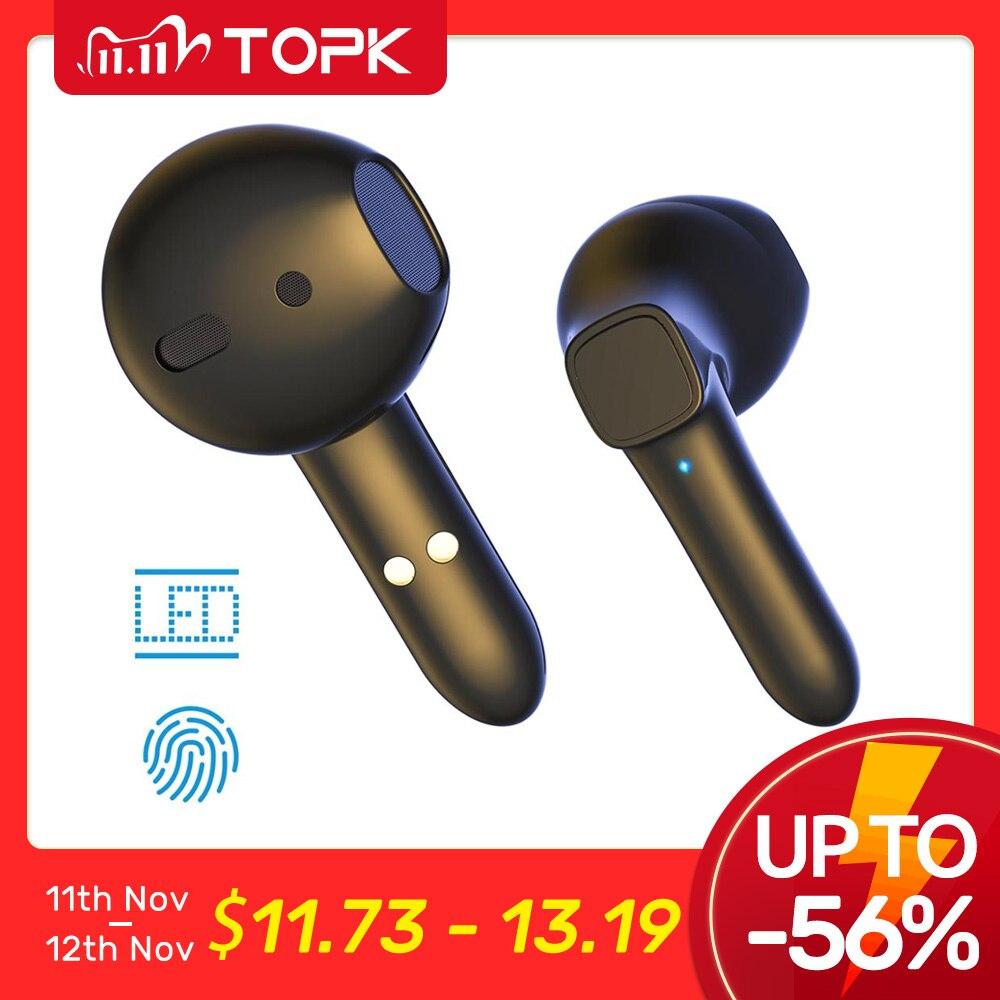 TOPK T20 TWS Bluetooth 5 0 Earphones Wireless headphones Fingerprint Touch Sports Waterproof Headsets Earbuds With Microphone