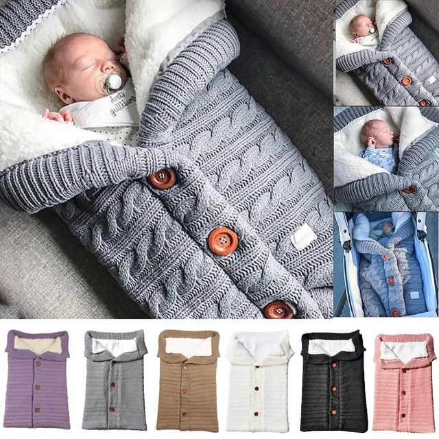 Baby Sleeping Bags Envelope Winter Warm Footmuff Toddler Blanket Wool Sleepsack Button Knit Swaddle Wrap Swaddling Stroller Wrap