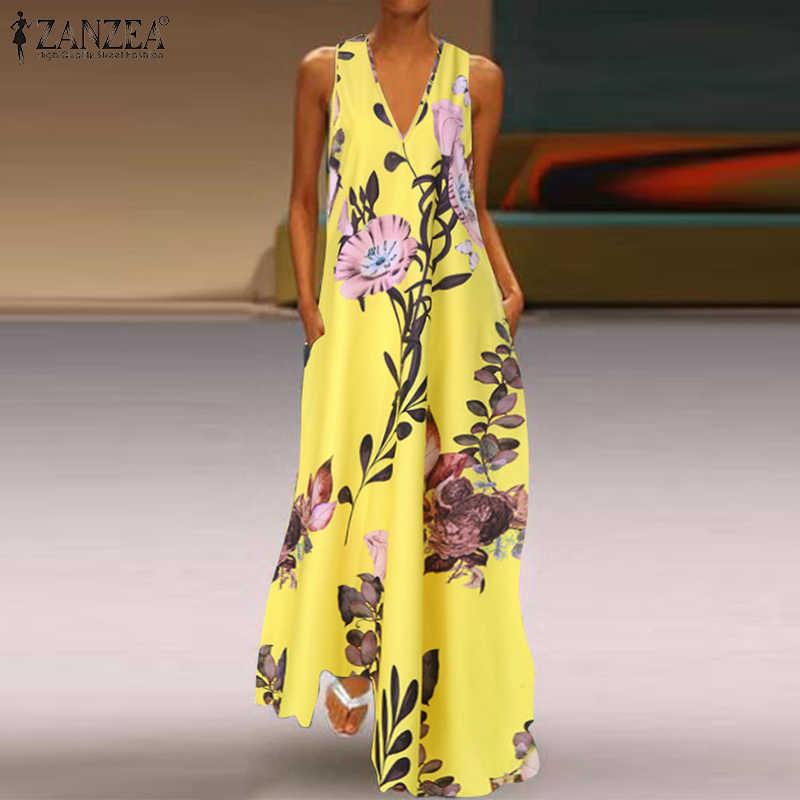 ZANZEA 2019 mode été Robe d'été femmes longues Maxi Vestidos fleurs imprimé bohème Robe dames poches décontracté longue tunique Robe