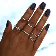 Bohemian Ring Set Women Knuckle Rhinestone Geometric Vintage Rings 2020 Finger Boho Jewelry rhinestone vintage flower ring