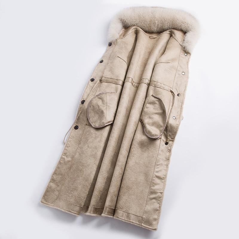 Real Fur Coat Women Winter Jacket Sheep Shearing Wool Coat Female Long Fox Fur Collar Hooded Manteau Femme Hiver KJ1032