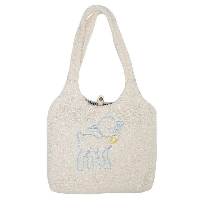 Women's Kawaii Lamb Fabric Shoulder Bag Handbag Tote Large Capacity Embroidery Shopper Bags Cute Bag for Girls New Design 6