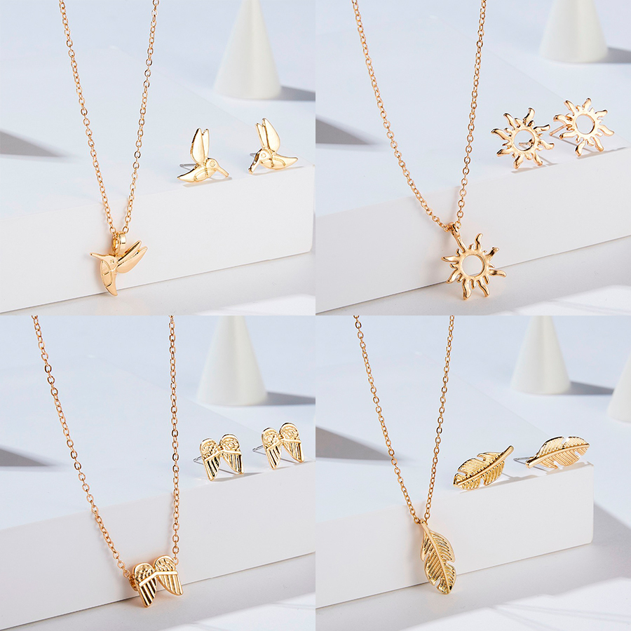 Belleper Gold Color Stainless Steel Necklace For Women Hollow Pineapple Rose Flower Bike Pendant Necklace Earring Jewelry Set