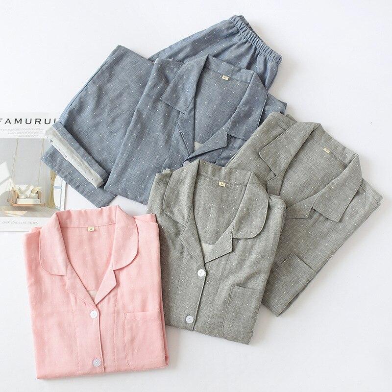 New Japanese Couples 100% Cotton Gauze Pajamas Suit Long Sleeved Trousers Home Clothes Loungewear Pijama Couple Plus Size Pj Set