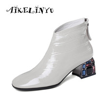 AIKELINYU Crystal Heels High Boots Women Ankle Booties Square Toe Shoes Female Cow Leather Zip Ladies Party Winter