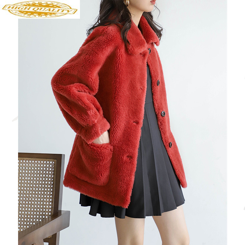 Real Sheep Shearling Fur Coat Winter Jacket Women Clothes 2020 Real Wool Coats And Jackets Women Abrigo Mujer MY3556