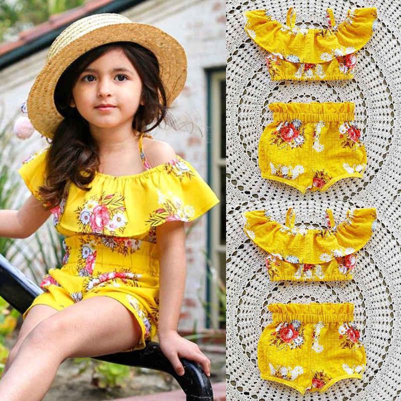 2Pcs เด็ก Littler ชุดเสื้อผ้าเด็กหญิง Ruffles Royal สีเหลืองสายรัดดอกไม้เสื้อและกางเกงขาสั้นชุดเสื้อผ้าเด็กวัยหัดเดิน