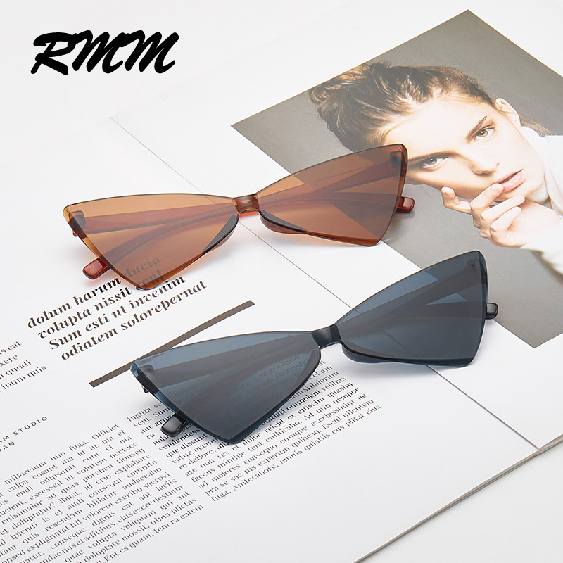 RMM Brand New Cat Eye Conjoined Triangle Sunglasses Women Mirror Bow-knot Sunglasses Candy Glasses