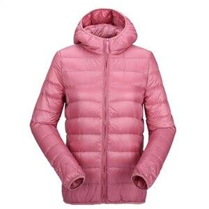 Image 5 - ZOGAA kadın ultra hafif şişme mont kapşonlu kış ördek aşağı ceket kadın ince uzun kollu Parka fermuar Coats cepler ceketler