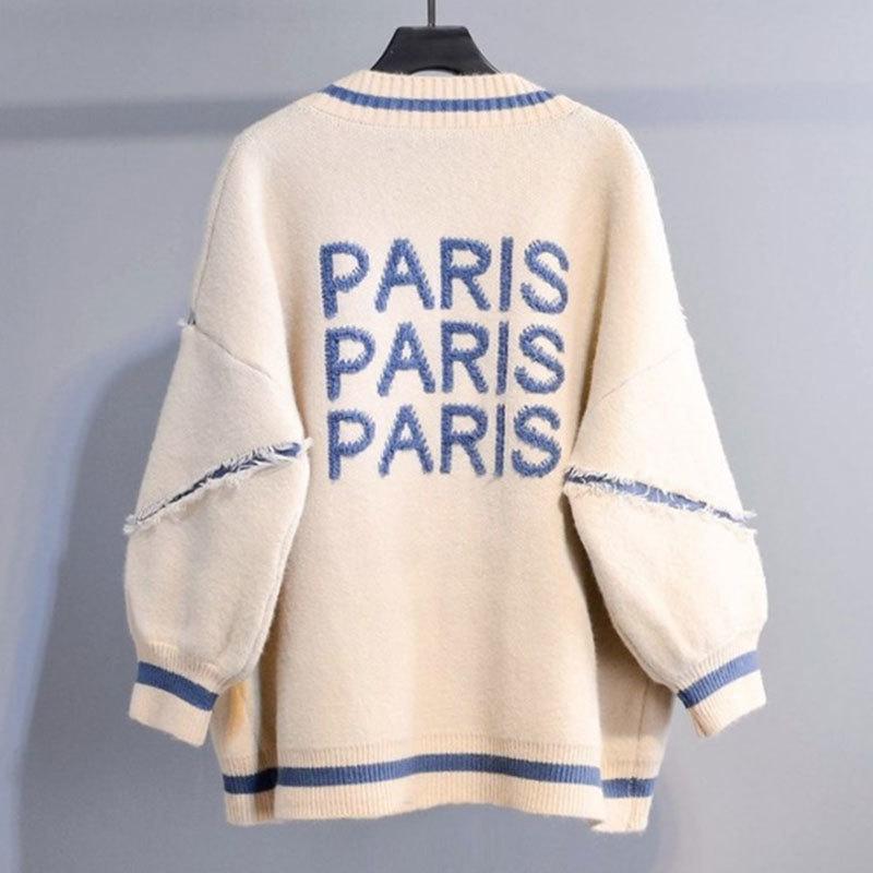 2019 Loose Fashion Long Cardigan Women Knitted Cardigan Thicken Plus Size Korean English Alphabet Sweater Coat