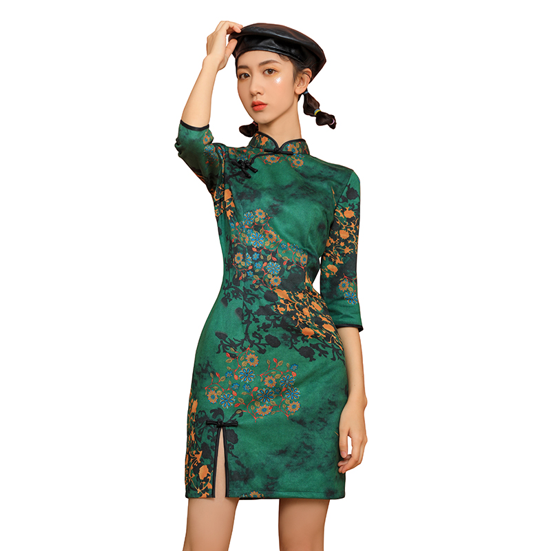 2020 Lady Vintage Short Qipao Elegant Women Improved Cheongsam Mandarin Collar Sexy Chinese Dress Qipao Dress Vestidos