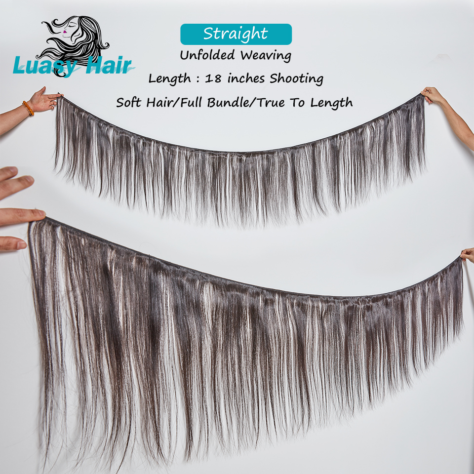 Luasy Brazilian Hair Weave Bundles Straight Non Remy Human Hair Extensions 1/3/4 Pcs Natural Color 8-30 32 38 40 inch