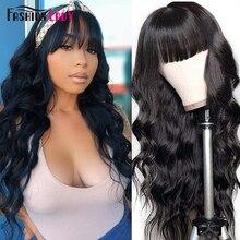Wigs Human-Hair-Wigs Bodywave Natural-Color Non-Remy Bang Brazilian-Hair Full-Machine
