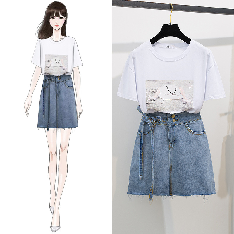 Summer New Style Fashion Slimming Set Printed Short Sleeve Cotton T-shirt Half-length Bandage Cloth Denim Skirt Two-Piece Women'