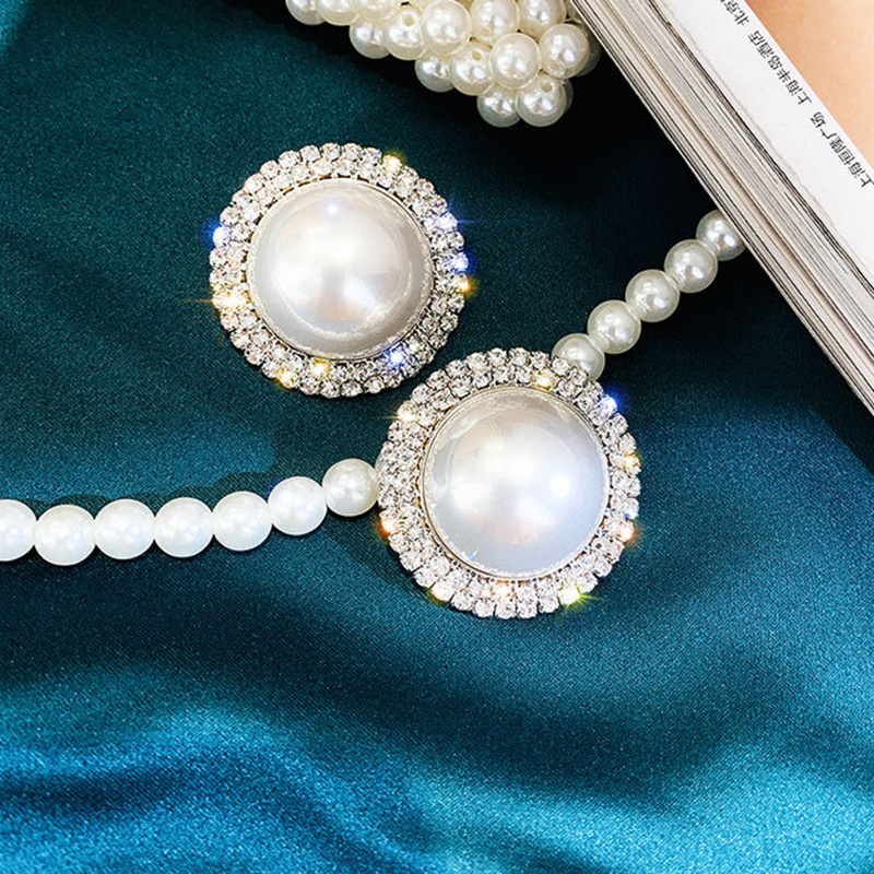 Korean New Simple Big Simulated Pearl Beads Stud Earrings For Women Elegant Party Ear Jewelry Fashion Brincos