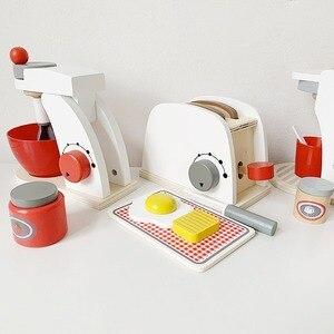 Image 4 - Dzieci drewniane udawaj zagraj zestawy symulacja tostery maszyna do chleba ekspres do kawy Blender zestaw do pieczenia gra mikser kuchnia rola zabawka