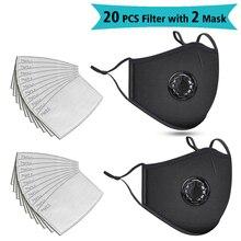 Lot de 2 masques faciaux en coton unisexe et de 20 filtres anti pollution, lavable et réutilisable, avec valve respirateur et anti poussière, couleur noir